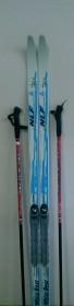 Лыжный комплект White Bear (лыжи, палки, креплен. NNN) 110см б/н